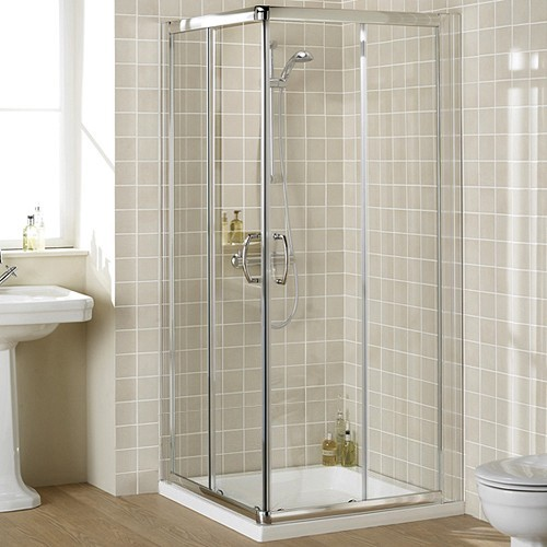Additional image for 900mm Square Shower Enclosure & Tray (Silver).