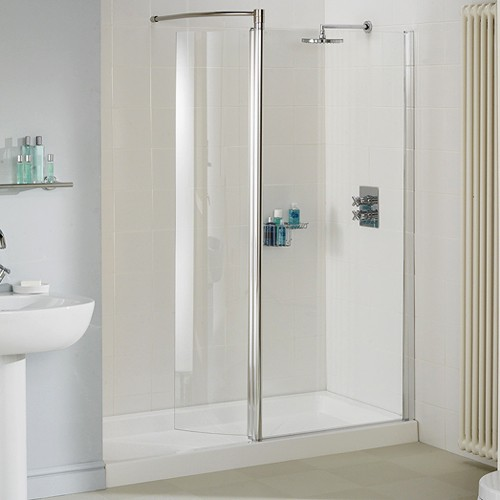 1400mm Glass Shower Screen With Swivel Glass Panel Silver