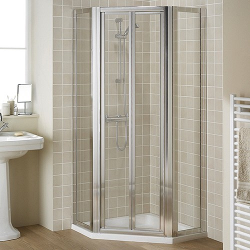 Additional image for Pentagon Framed Shower Enclosure, Bi-Fold Door & Tray (Silver).