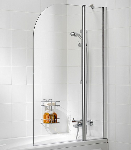 Additional image for 975x1400 Curved Bath Screen With Fixed Panel (Silver).
