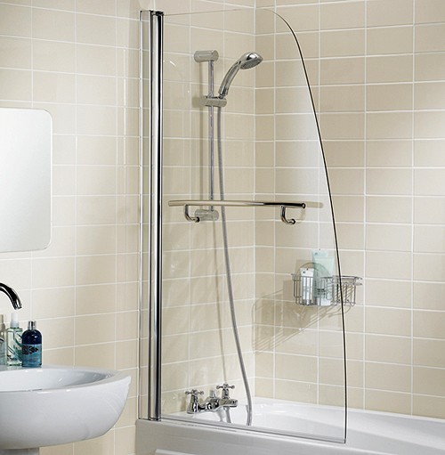 Additional image for 860x1400 Sculpted Bath Screen With Towel Rail (Silver).