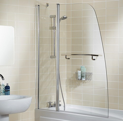 Additional image for 1175x1400 Sculpted Bath Screen With Fixed Panel & Towel Rail.