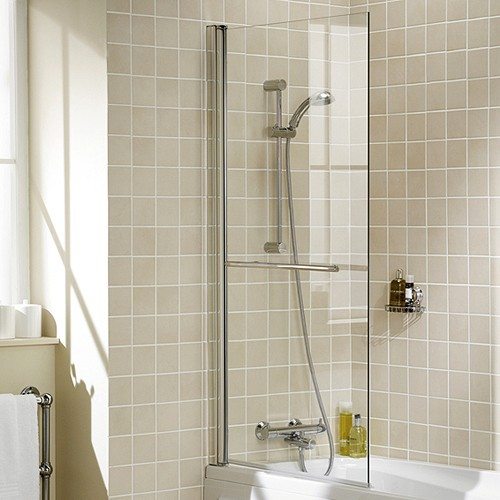 Additional image for 800x1500 Square Bath Screen With Towel Rail (Silver).