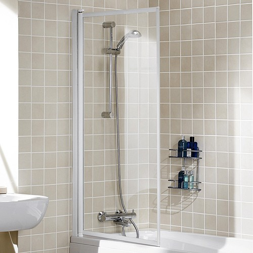 Additional image for 760x1400 Framed Bath Screen (White).