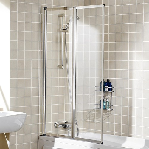 Additional image for 950x1400 Framed Bath Screen With 2 Folding Panels (Silver).
