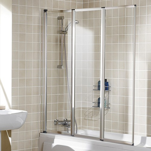 Additional image for 1390x1400 Framed Bath Screen With 3 Folding Panels (Silver).
