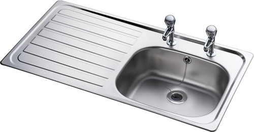Lexin 1.0 bowl stainless steel kitchen sink with left hand drainer ...