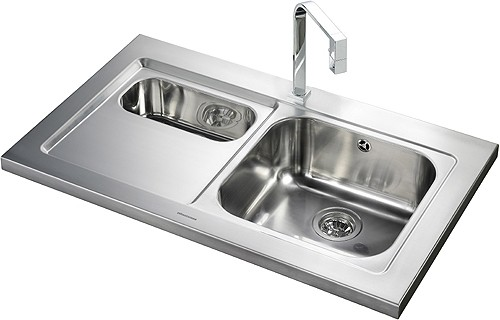 1 5 Bowl Stainless Steel Sink Left Hand Drainer