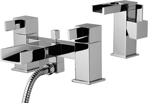 Waterfall Basin & Bath Shower Mixer Tap Set (Free Shower