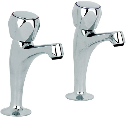 Additional image for Alpha High Neck Kitchen Pillar Taps (Pair, Chrome).