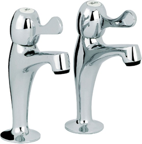 Additional image for Alpha Lever High Neck Kitchen Pillar Taps (Pair, Chrome).