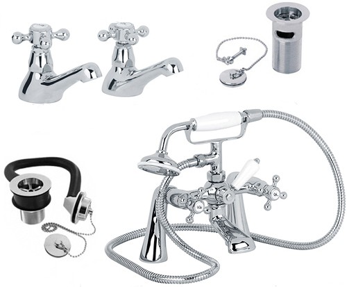 Additional image for Basin & Bath Shower Mixer Tap Pack With Wastes.