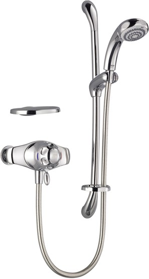 Additional image for Exposed Thermostatic Shower Kit with Slide Rail in Chrome.