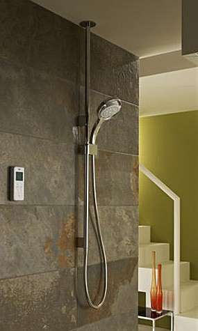 Additional image for Ceiling Fed Digital Shower (Pumped, White & Chrome).