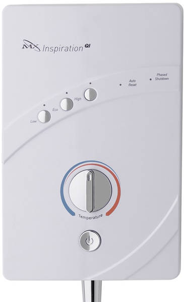 Additional image for InspiratIon QI Electric Shower (9.5kW, White & Chrome).