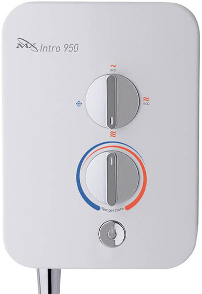 Additional image for Intro 950 Electric Shower (9.5kW, White & Chrome).