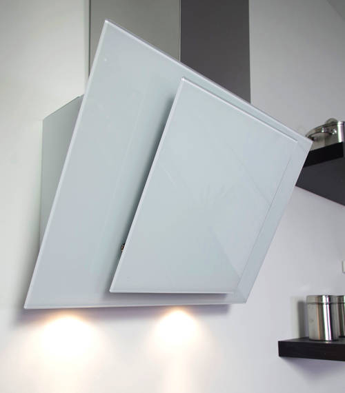 cooker hood with white angled glass s steel 900mm. Black Bedroom Furniture Sets. Home Design Ideas