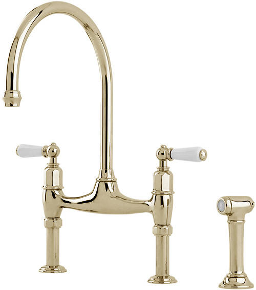 Additional image for Kitchen Tap With White Levers & Rinser (Gold).
