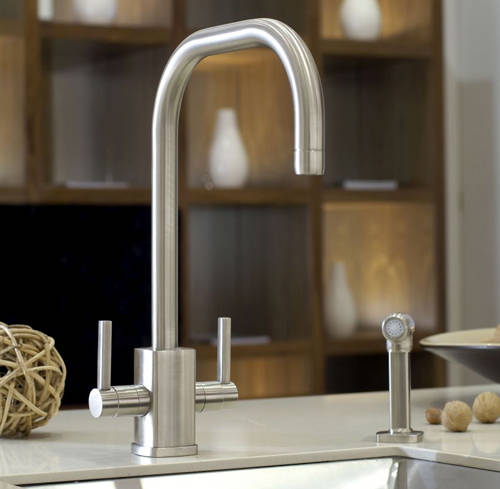 Additional image for Kitchen Tap With Rinser & U Spout (Pewter).