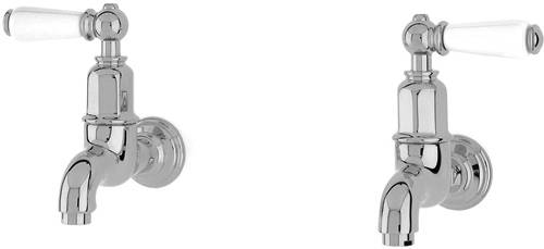 Additional image for Wall Mounted Bib Taps With Lever Handles (Chrome).