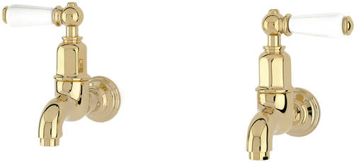 Additional image for Wall Mounted Bib Taps With Lever Handles (Gold).
