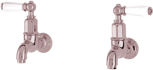 Additional image for Wall Mounted Bib Taps With Lever Handles (Nickel).