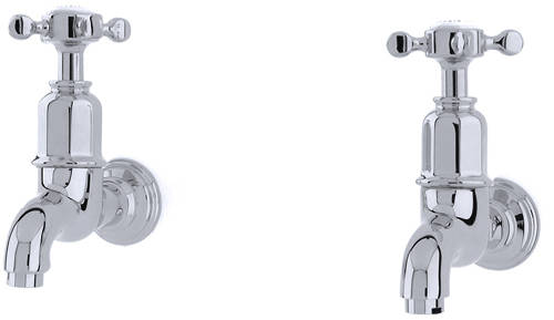 Additional image for Wall Mounted Bib Taps With X-Head Handles (Chrome).