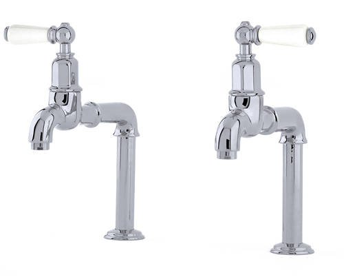 Additional image for Deck Mounted Bib Taps With Lever Handles (Chrome).