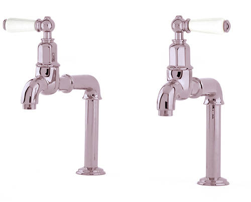 Additional image for Deck Mounted Bib Taps With Lever Handles (Nickel).