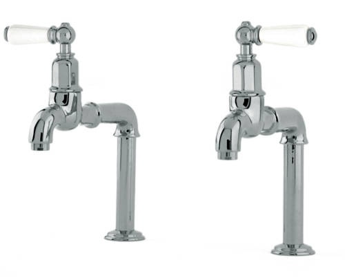 Additional image for Deck Mounted Bib Taps With Lever Handles (Pewter).