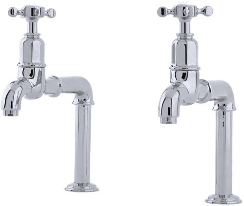 Additional image for Deck Mounted Bib Taps With X-Head Handles (Chrome).