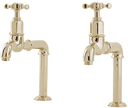 Additional image for Deck Mounted Bib Taps With X-Head Handles (Gold).