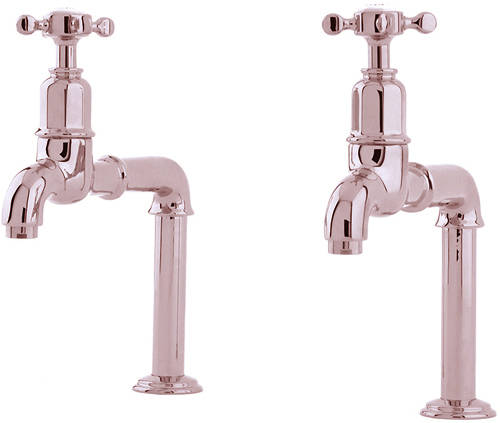Additional image for Deck Mounted Bib Taps With X-Head Handles (Nickel).