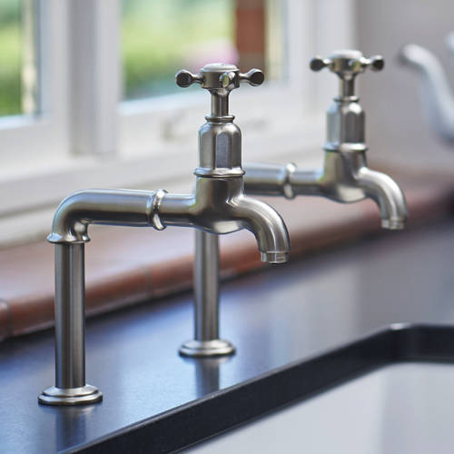Additional image for Deck Mounted Bib Taps With X-Head Handles (Pewter).