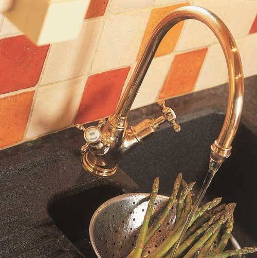 Additional image for Kitchen Mixer Tap With X-Head Handles (Gold).