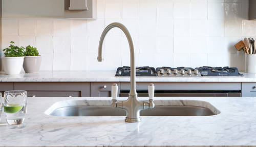 Additional image for Kitchen Tap & White Handles (Pewter).