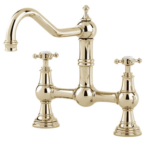 Additional image for Bridge Kitchen Tap With X-Head Handles (Gold).