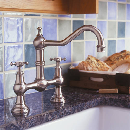 Additional image for Bridge Kitchen Tap With X-Head Handles (Pewter).