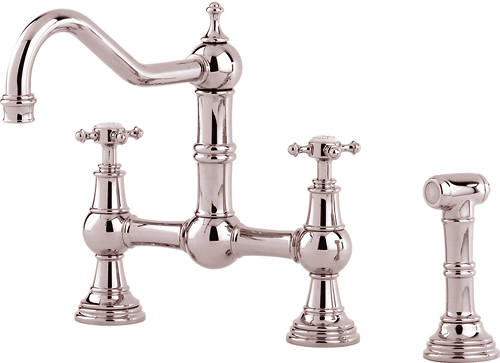 Additional image for Kitchen Tap With Rinser & X-Head Handles (Nickel).