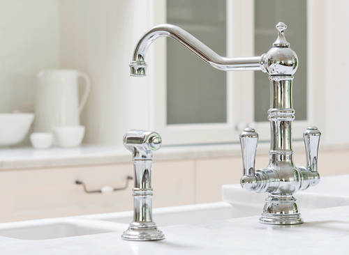 Additional image for Kitchen Tap With Rinser & Lever Handles (Chrome).