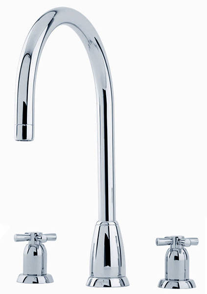Additional image for 3 Hole Kitchen Tap With X-Head Handles (Chrome).