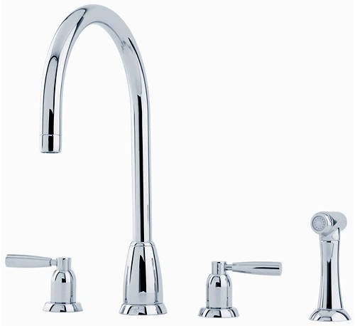 Additional image for 4 Hole Kitchen Tap With Lever Handles & Rinser (Chrome).