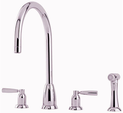 Additional image for 4 Hole Kitchen Tap With Lever Handles & Rinser (Nickel).