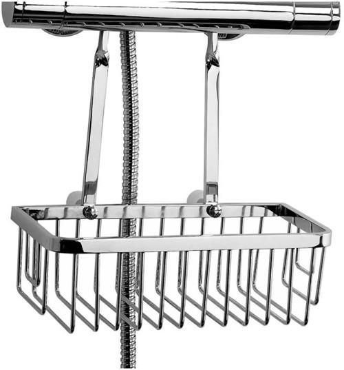 Additional image for Retro Fit Hanging Shower Basket & Bracket (Chrome).