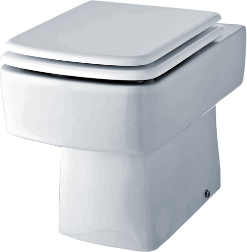 Additional image for Bliss Square Back To Wall Toilet Pan With Seat.