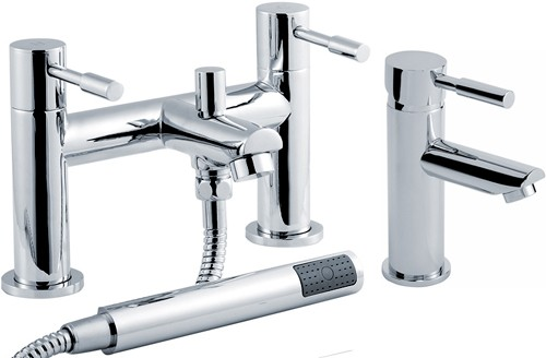 Additional image for Basin & Bath Shower Mixer Tap Set (Chrome).