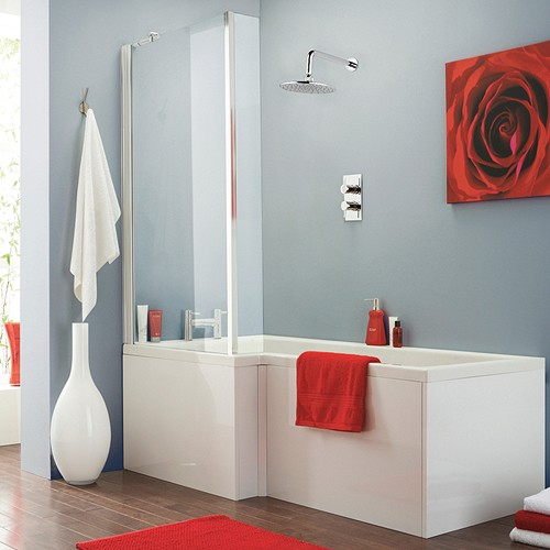 Additional image for Square Shower Bath With Screen & Panels (Left Handed).