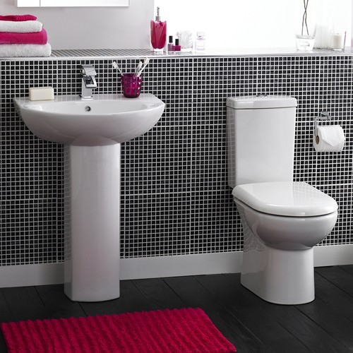 Additional image for Square Shower Bath Suite, Toilet & Basin (Left Handed).