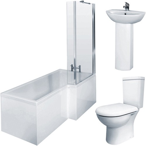 Additional image for Square Shower Bath Suite, Toilet & Basin (Right Handed).