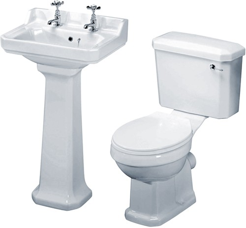 Additional image for Carlton 4 Piece Bathroom Suite, 500mm Basin (2 Tap Holes).